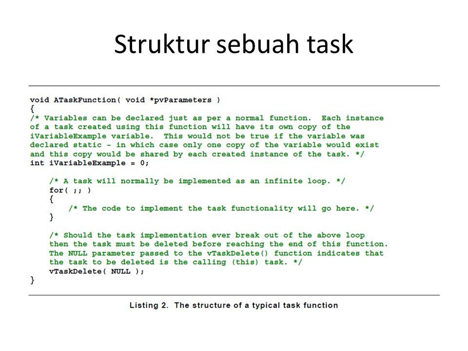 Task Priority Diset dengan parameter uxPriority Jumlah prioritas diset dengan configMAX_PRIORITIES di FreeRTOSConfig.c Beberapa task dapat memiliki prioritas yang sama Prioritas terendah = 0 Prioritas tertinggi (configMAX_PRIORITIES – 1).