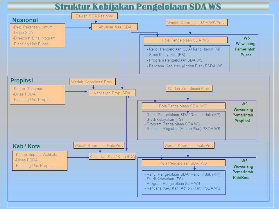 Nasional -Dep. Pekerjaan Umum -Ditjen SDA -Direktorat Bina Program -Planning Unit Pusat Kebijakan Nas. SDA Dewan SDA Nasional Wadah Koordinasi SDA WS/