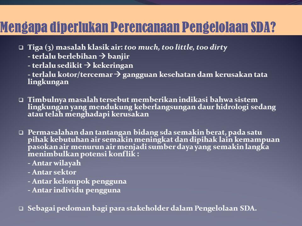 Mengapa diperlukan Perencanaan Pengelolaan SDA.