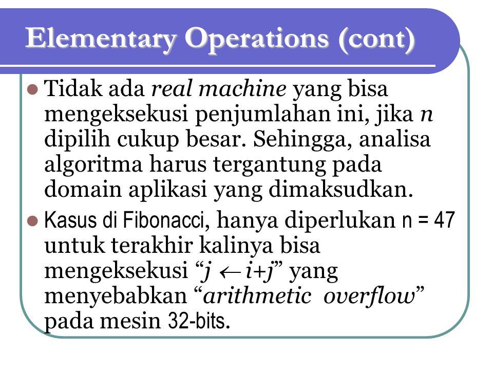 Elementary Operations (cont) Tidak ada real machine yang bisa mengeksekusi penjumlahan ini, jika n dipilih cukup besar. Sehingga, analisa algoritma ha