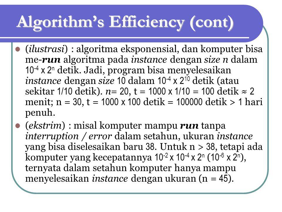 Algorithm's Efficiency (cont) (ilustrasi) : algoritma eksponensial, dan komputer bisa me-run algoritma pada instance dengan size n dalam 10 -4 x 2 n detik.