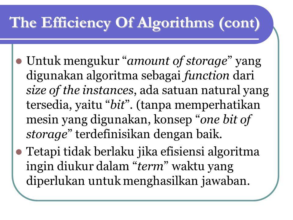 The Efficiency Of Algorithms (cont) Untuk mengukur amount of storage yang digunakan algoritma sebagai function dari size of the instances, ada satuan natural yang tersedia, yaitu bit .