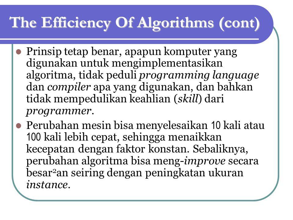 The Efficiency Of Algorithms (cont) Prinsip tetap benar, apapun komputer yang digunakan untuk mengimplementasikan algoritma, tidak peduli programming language dan compiler apa yang digunakan, dan bahkan tidak mempedulikan keahlian (skill) dari programmer.