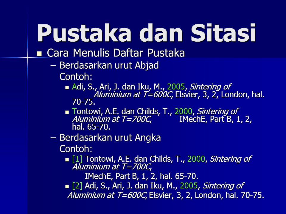 Pustaka dan Sitasi Cara Menulis Daftar Pustaka Cara Menulis Daftar Pustaka –Berdasarkan urut Abjad Contoh: Contoh: Adi, S., Ari, J.