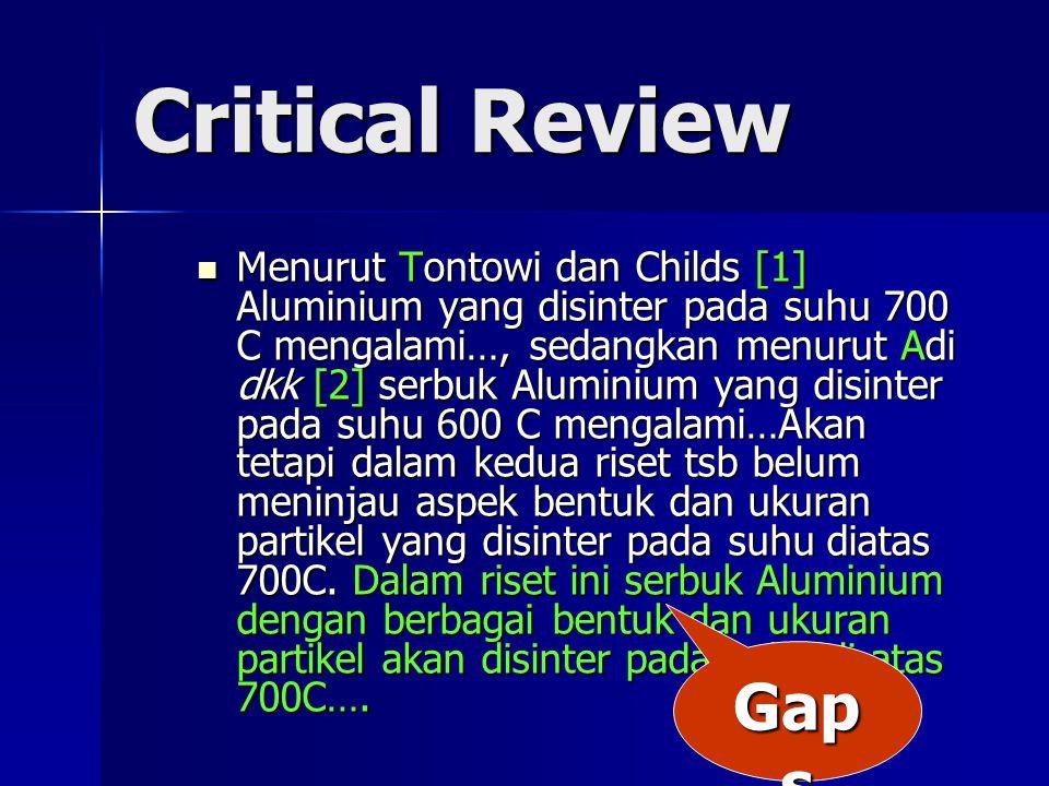 Critical Review Menurut Tontowi dan Childs [1] Aluminium yang disinter pada suhu 700 C mengalami…, sedangkan menurut Adi dkk [2] serbuk Aluminium yang disinter pada suhu 600 C mengalami…Akan tetapi dalam kedua riset tsb belum meninjau aspek bentuk dan ukuran partikel yang disinter pada suhu diatas 700C.