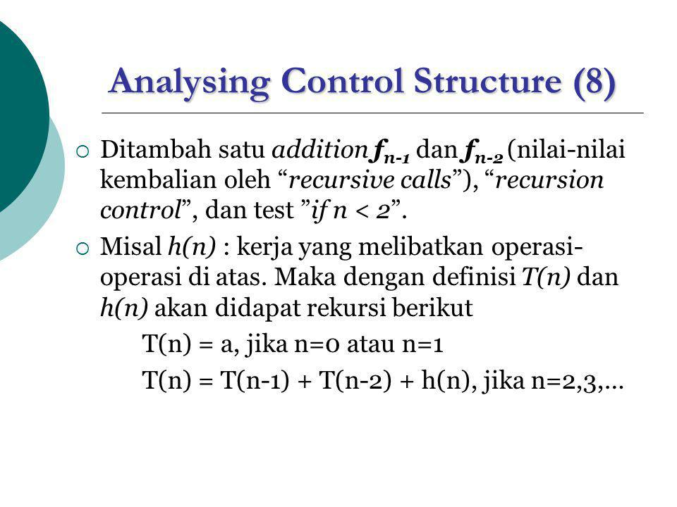 Analysing Control Structure (8)  Ditambah satu addition f n-1 dan f n-2 (nilai-nilai kembalian oleh recursive calls ), recursion control , dan test if n < 2 .