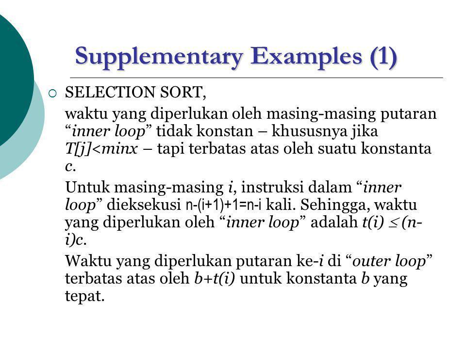"""Supplementary Examples (1)  SELECTION SORT, waktu yang diperlukan oleh masing-masing putaran """"inner loop"""" tidak konstan – khususnya jika T[j]<minx –"""