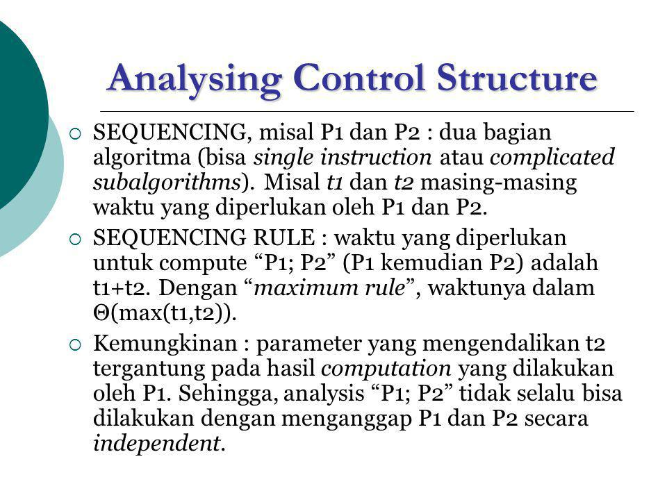 Analysing Control Structure (1)  FOR LOOP, perhatikan loop for i  1 to m do P(i) (convention : untuk m=0 tidak error , hanya statemen terkontrol P(i) sama sekali tidak dieksekusi).