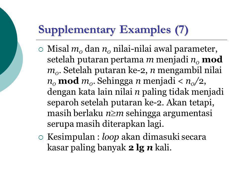 Supplementary Examples (7)  Misal m 0 dan n 0 nilai-nilai awal parameter, setelah putaran pertama m menjadi n 0 mod m 0. Setelah putaran ke-2, n meng