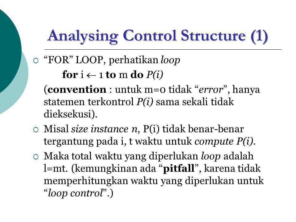 """Analysing Control Structure (1)  """"FOR"""" LOOP, perhatikan loop for i  1 to m do P(i) (convention : untuk m=0 tidak """"error"""", hanya statemen terkontrol"""