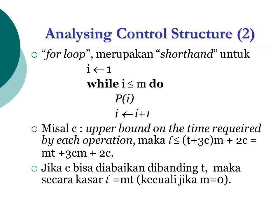 Analysing Control Structure (2)  for loop , merupakan shorthand untuk i  1 while i  m do P(i) i  i+1  Misal c : upper bound on the time requeired by each operation, maka l  (t+3c)m + 2c = mt +3cm + 2c.