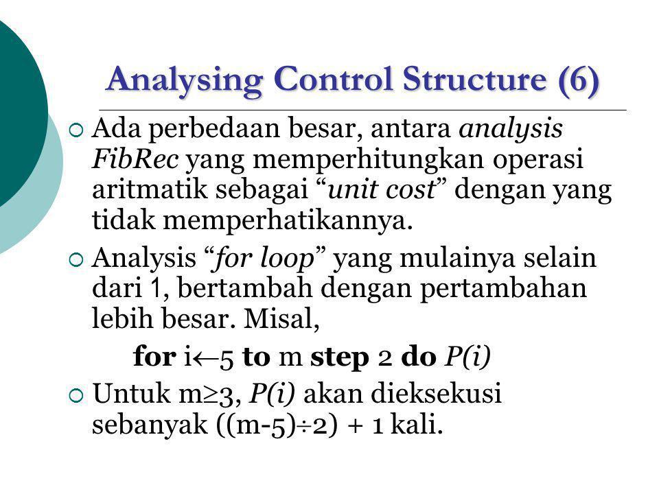 Analysing Control Structure (7)  RECURSIVE CALL, perhatikan algoritma FibRec berikut function FibRec(n) if n<2 then return n else return FibRec(n-1)+FibRec(n-2)  Misal T(n) : waktu untuk call on FibRec(n).