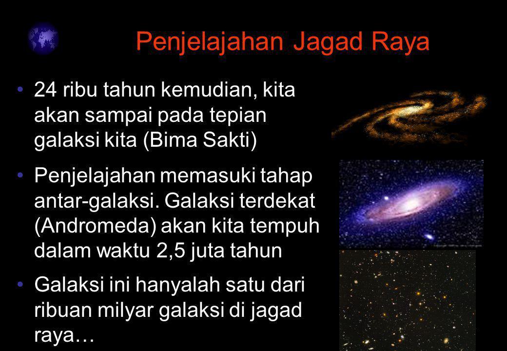 4 Penjelajahan Jagad Raya Penjelajahan memasuki tahap antar-galaksi. Galaksi terdekat (Andromeda) akan kita tempuh dalam waktu 2,5 juta tahun 24 ribu