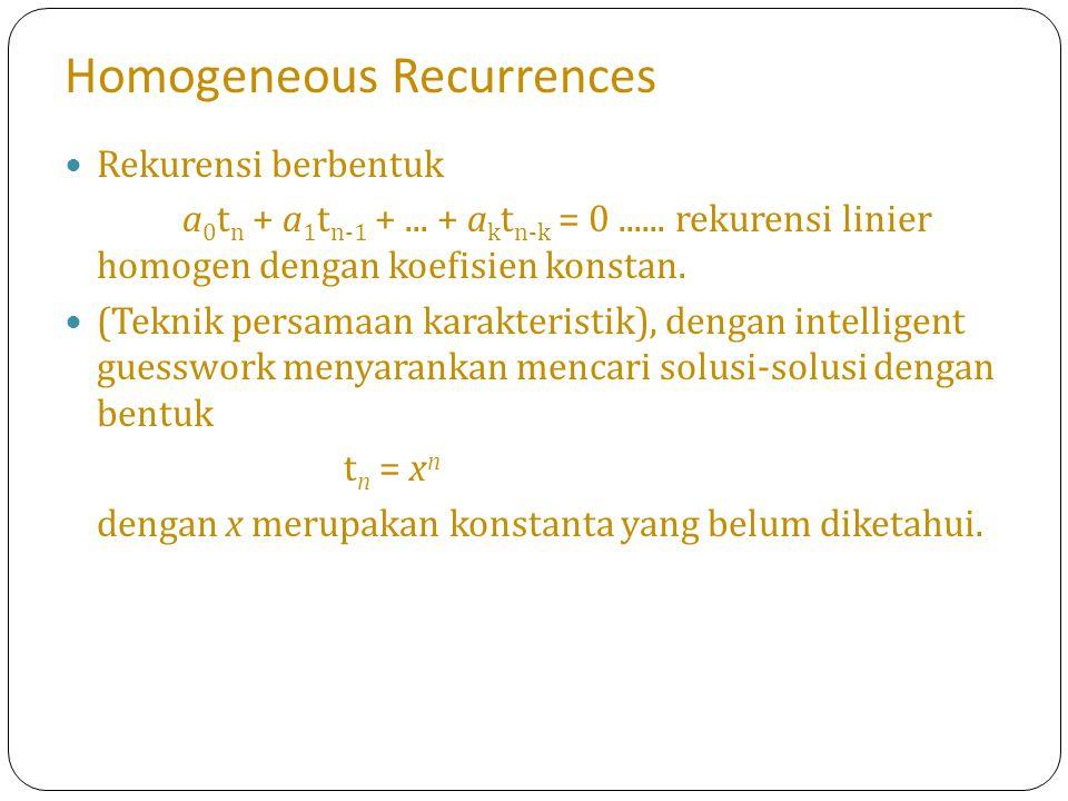 Homogeneous Recurrences Rekurensi berbentuk a 0 t n + a 1 t n-1 +... + a k t n-k = 0...... rekurensi linier homogen dengan koefisien konstan. (Teknik