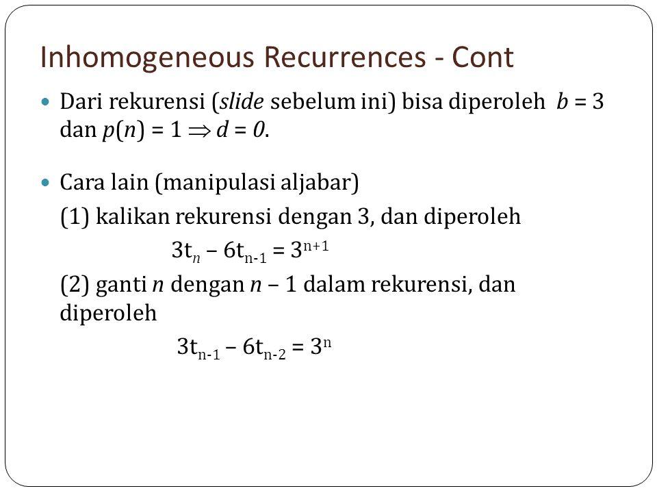 Inhomogeneous Recurrences - Cont Dari rekurensi (slide sebelum ini) bisa diperoleh b = 3 dan p(n) = 1  d = 0. Cara lain (manipulasi aljabar) (1) kali