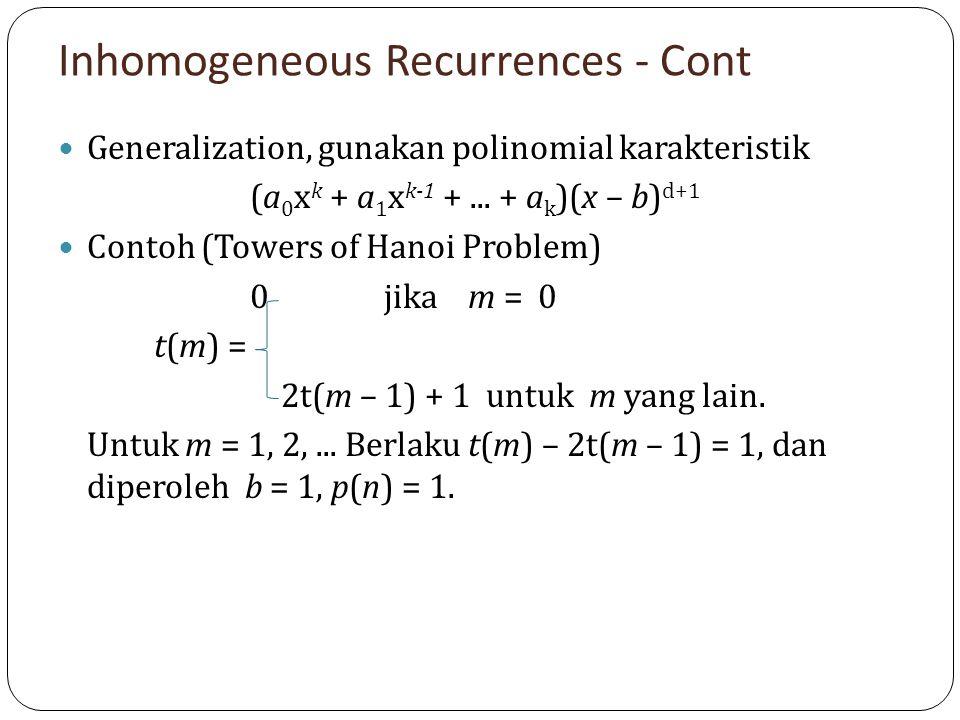 Inhomogeneous Recurrences - Cont Generalization, gunakan polinomial karakteristik (a 0 x k + a 1 x k-1 +... + a k )(x – b) d+1 Contoh (Towers of Hanoi