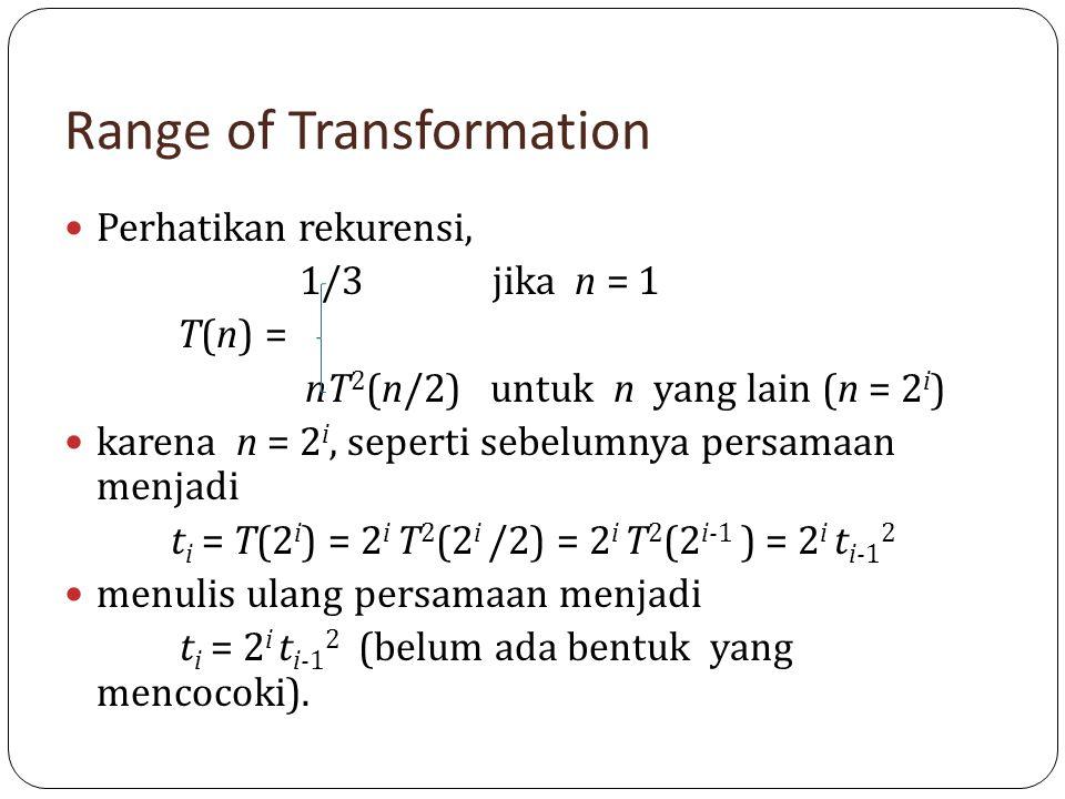 Range of Transformation Perhatikan rekurensi, 1/3 jika n = 1 T(n) = nT 2 (n/2) untuk n yang lain (n = 2 i ) karena n = 2 i, seperti sebelumnya persama