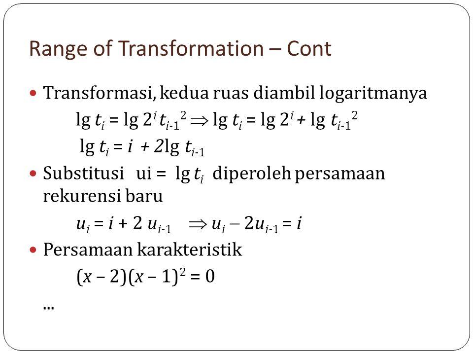 Range of Transformation – Cont Transformasi, kedua ruas diambil logaritmanya lg t i = lg 2 i t i-1 2  lg t i = lg 2 i + lg t i-1 2 lg t i = i + 2lg t