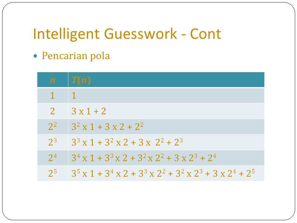 Intelligent Guesswork - Cont Pencarian pola nT(n)T(n) 11 23 x 1 + 2 2 3 2 x 1 + 3 x 2 + 2 2 2323 3 3 x 1 + 3 2 x 2 + 3 x 2 2 + 2 3 2424 3 4 x 1 + 3 3