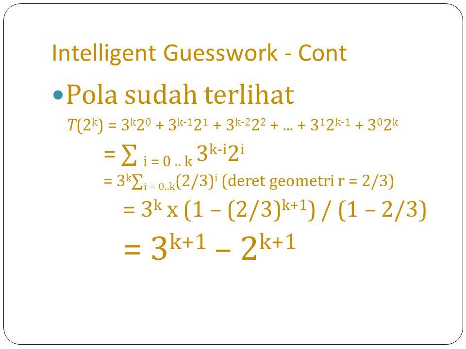 Intelligent Guesswork - Cont Pola sudah terlihat T(2 k ) = 3 k 2 0 + 3 k-1 2 1 + 3 k-2 2 2 +... + 3 1 2 k-1 + 3 0 2 k = ∑ i = 0.. k 3 k-i 2 i = 3 k ∑