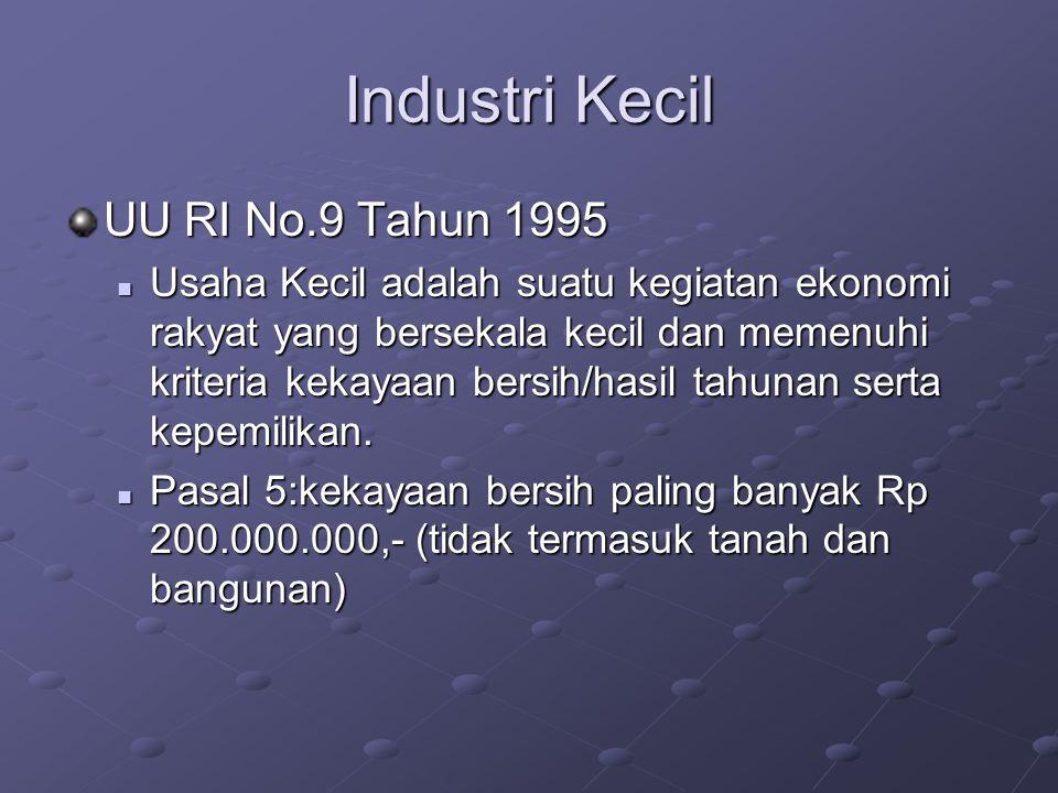 Industri Kecil UU RI No.9 Tahun 1995 Usaha Kecil adalah suatu kegiatan ekonomi rakyat yang bersekala kecil dan memenuhi kriteria kekayaan bersih/hasil tahunan serta kepemilikan.