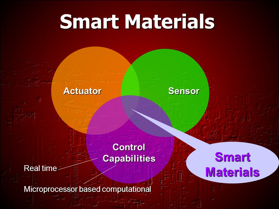 smart materials With benefits for aerospace, medical, textile, construction, and electronics industries, smart materials improve efficiency and save resources by responding to corrosion, ph changes, water content, temperature, mechanical forces, and much more.