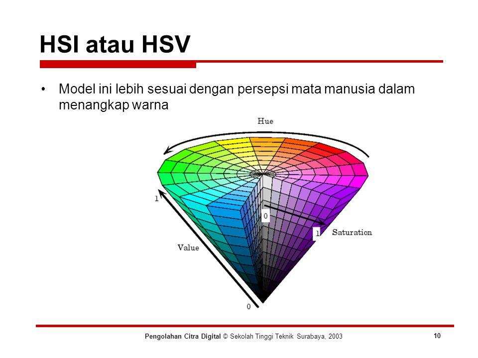 HSI atau HSV Pengolahan Citra Digital © Sekolah Tinggi Teknik Surabaya, 2003 10 Model ini lebih sesuai dengan persepsi mata manusia dalam menangkap warna