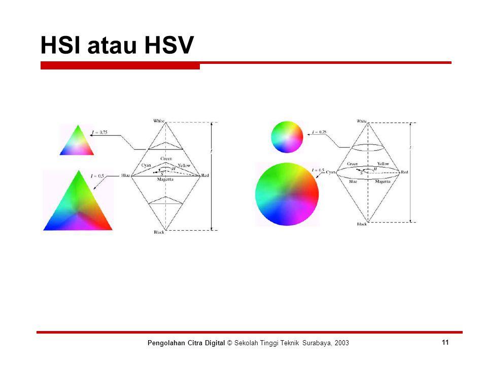 HSI atau HSV Pengolahan Citra Digital © Sekolah Tinggi Teknik Surabaya, 2003 11