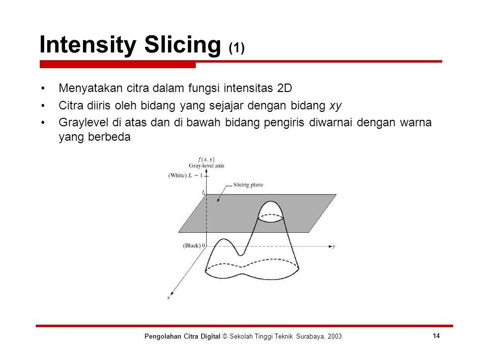 Intensity Slicing (1) Pengolahan Citra Digital © Sekolah Tinggi Teknik Surabaya, 2003 14 Menyatakan citra dalam fungsi intensitas 2D Citra diiris oleh bidang yang sejajar dengan bidang xy Graylevel di atas dan di bawah bidang pengiris diwarnai dengan warna yang berbeda