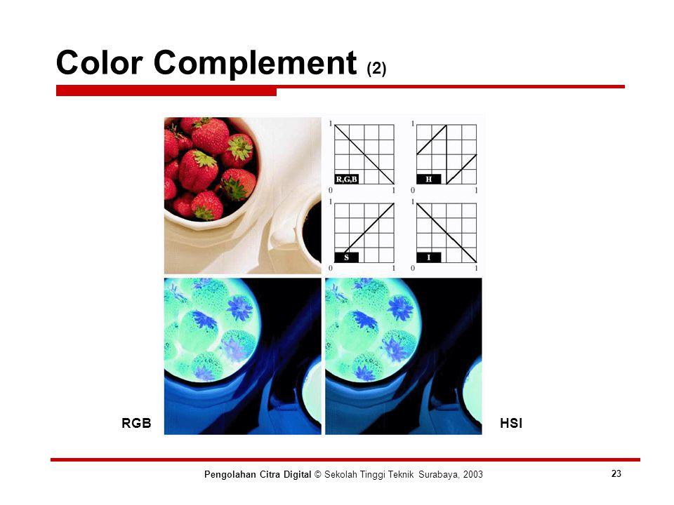 Color Complement (2) Pengolahan Citra Digital © Sekolah Tinggi Teknik Surabaya, 2003 23 RGBHSI