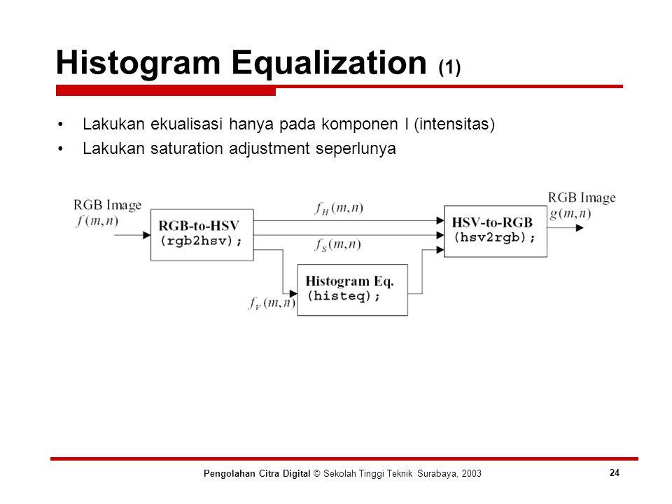 Histogram Equalization (1) Pengolahan Citra Digital © Sekolah Tinggi Teknik Surabaya, 2003 24 Lakukan ekualisasi hanya pada komponen I (intensitas) Lakukan saturation adjustment seperlunya