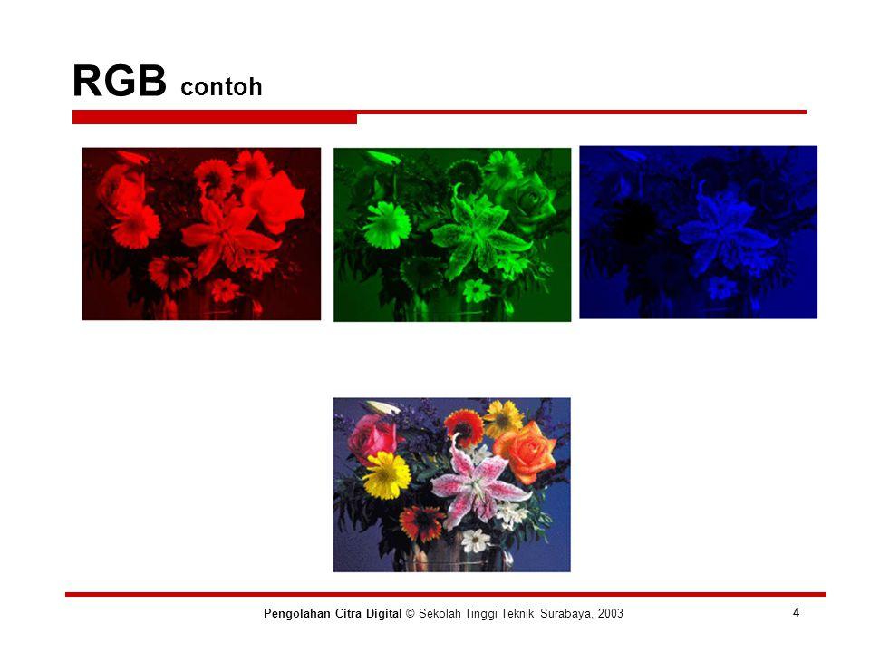 RGB all-systems-safe 216 colors Pengolahan Citra Digital © Sekolah Tinggi Teknik Surabaya, 2003 5 Standarisasi karena masih banyak sistem yang tidak bisa menampilkan 16-juta warna Hanya kombinasi RGB dengan nilai {00,33,66,99,CC,FF} yang diperbolehkan