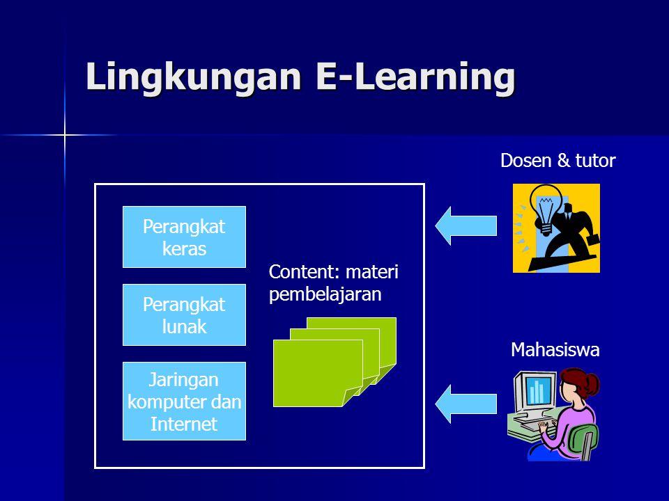 Bentuk Realisasi E-Learning Stand-alone & off-line E-Learning Stand-alone & off-line E-Learning  Dapat dijalankan pada komputer yang tidak terhubung dengan jaringan  Dipakai untuk pembelajaran mandiri Web-Based Training (WBT) Web-Based Training (WBT)  Lingkungan belajar berbasis Web dan teknologi Internet  Lebih kaya dan interaktif  Dapat digunakan untuk pembelajaran mandiri maupun kolektif