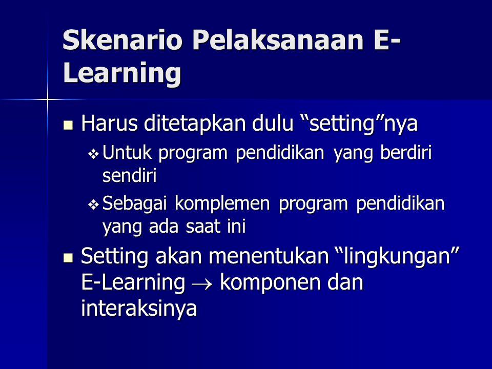E-Learning Sebagai Komplemen Pembelajaran Konvensional Difungsikan untuk memperkaya (enriching) pembelajaran mahasiswa Difungsikan untuk memperkaya (enriching) pembelajaran mahasiswa  Keragaman materi pembelajaran  Rangsangan untuk berpikir lateral  Rangsangan untuk berinovasi Melibatkan komponen-komponen konvensional: dosen, asisten, kelas, lab, perpustakaan, dsb Melibatkan komponen-komponen konvensional: dosen, asisten, kelas, lab, perpustakaan, dsb