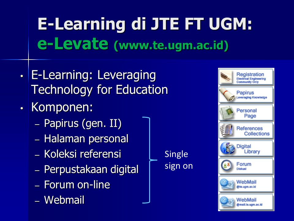 E-Learning di JTE FT UGM: e-Levate (www.te.ugm.ac.id) E-Learning: Leveraging Technology for Education E-Learning: Leveraging Technology for Education