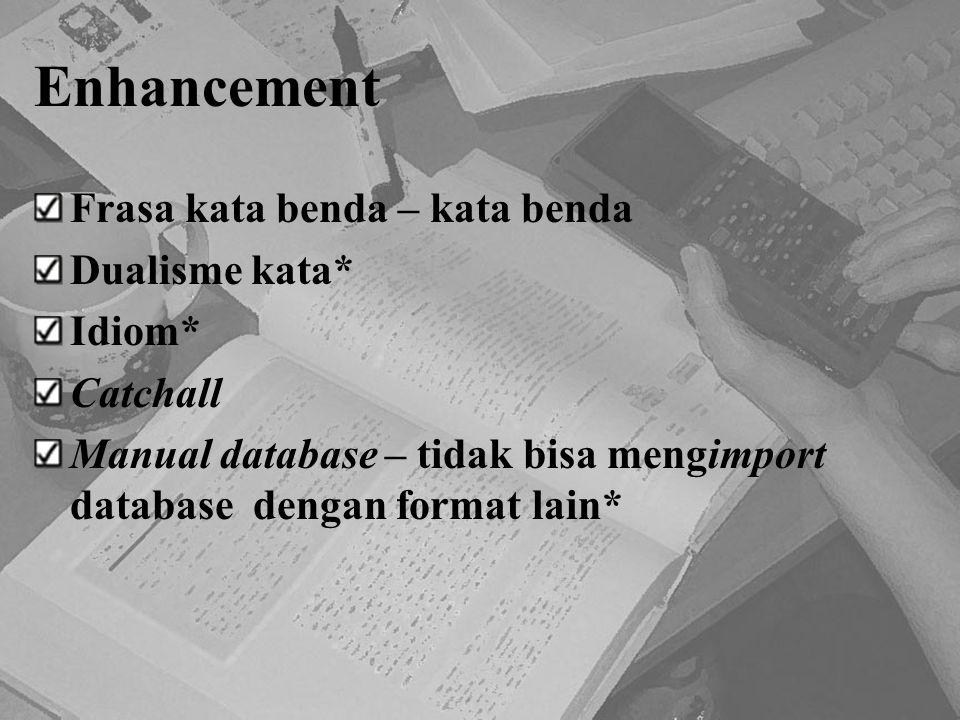 Enhancement Frasa kata benda – kata benda Dualisme kata* Idiom* Catchall Manual database – tidak bisa mengimport database dengan format lain*