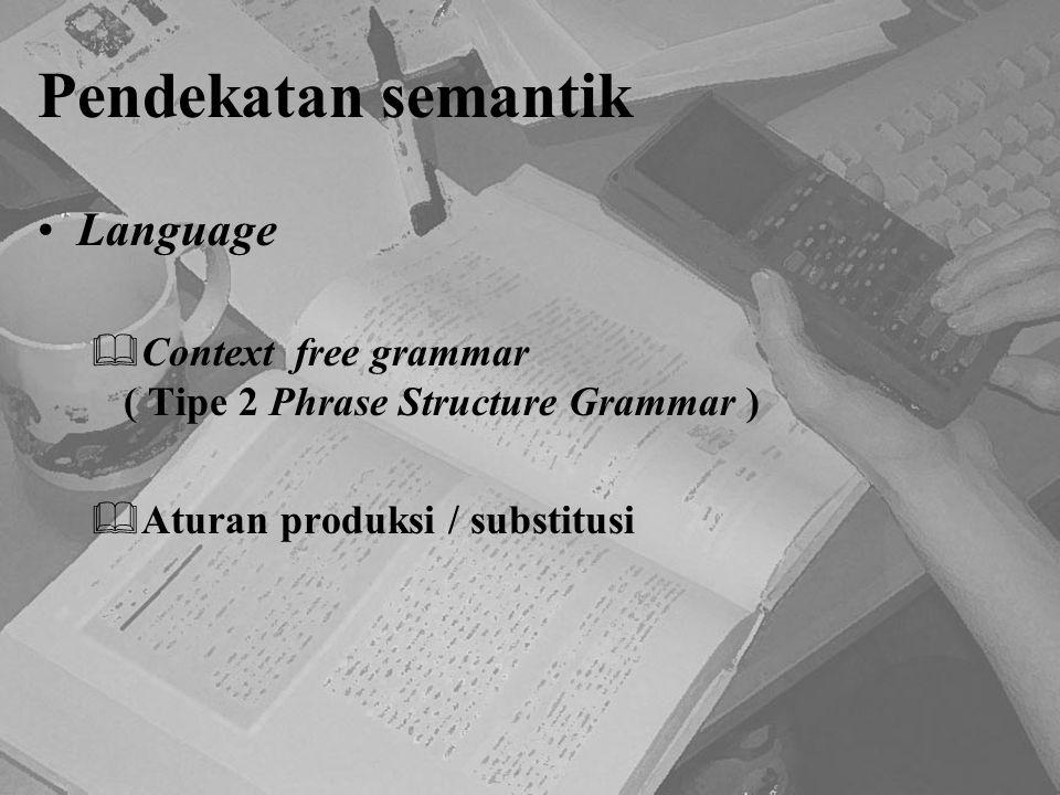 Pendekatan semantik Language  Context free grammar ( Tipe 2 Phrase Structure Grammar )  Aturan produksi / substitusi
