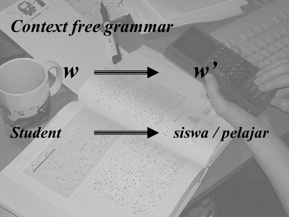 Context free grammar w w' Student siswa / pelajar