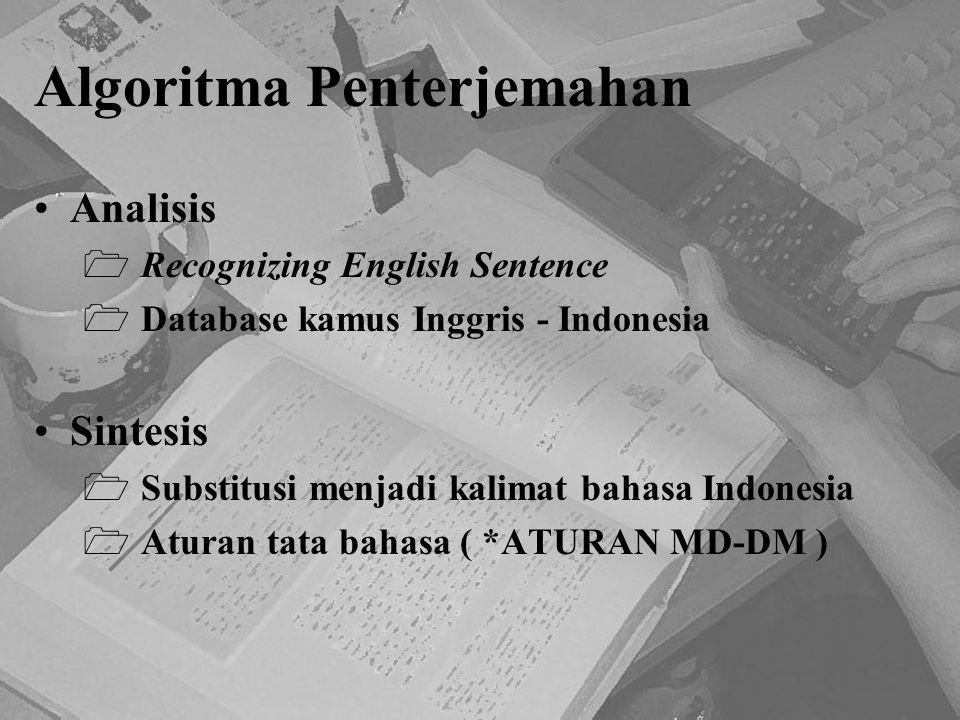 Algoritma Penterjemahan Analisis  Recognizing English Sentence  Database kamus Inggris - Indonesia Sintesis  Substitusi menjadi kalimat bahasa Indo