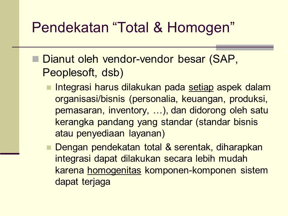 """Pendekatan """"Total & Homogen"""" Dianut oleh vendor-vendor besar (SAP, Peoplesoft, dsb) Integrasi harus dilakukan pada setiap aspek dalam organisasi/bisni"""