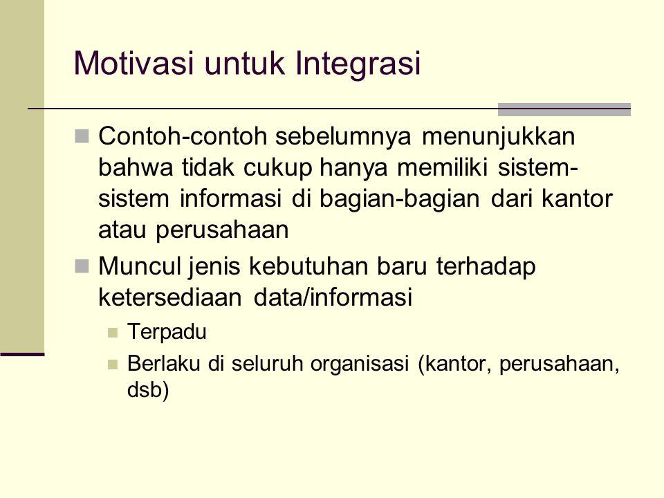 Motivasi untuk Integrasi Contoh-contoh sebelumnya menunjukkan bahwa tidak cukup hanya memiliki sistem- sistem informasi di bagian-bagian dari kantor a