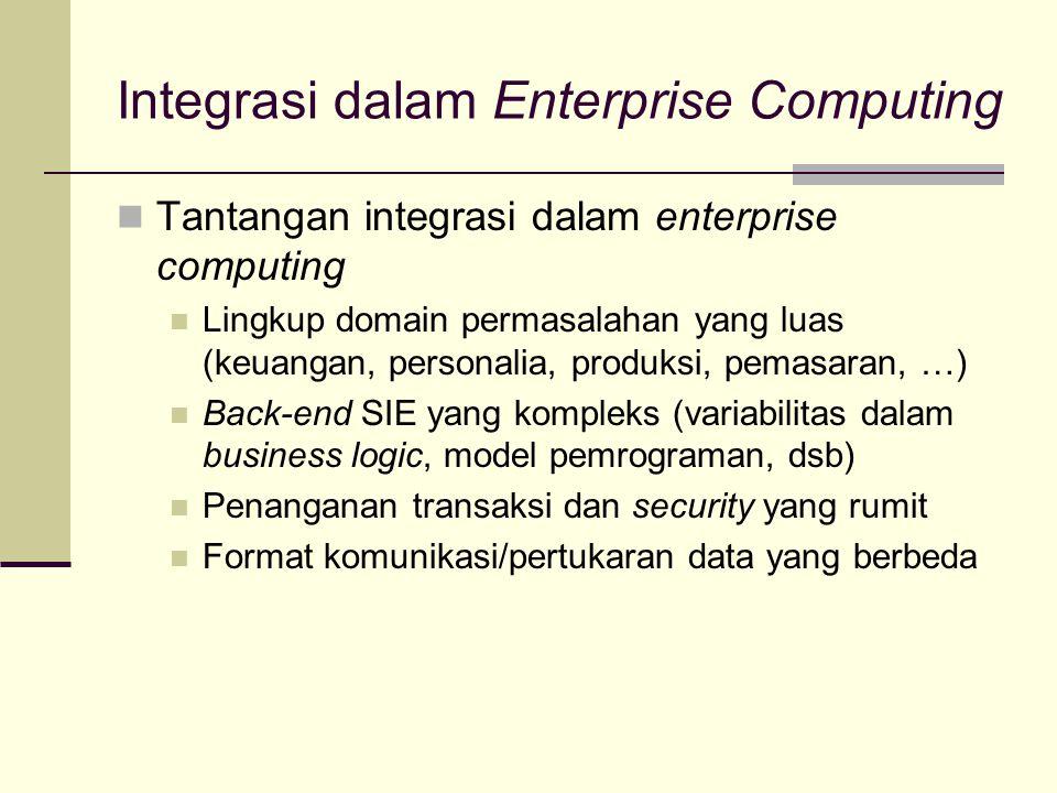 Integrasi dalam Enterprise Computing Tantangan integrasi dalam enterprise computing Lingkup domain permasalahan yang luas (keuangan, personalia, produ