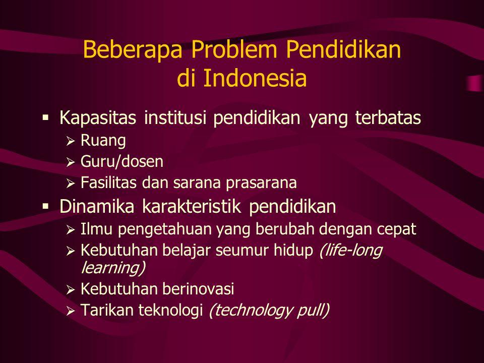 Beberapa Problem Pendidikan di Indonesia  Kapasitas institusi pendidikan yang terbatas  Ruang  Guru/dosen  Fasilitas dan sarana prasarana  Dinami