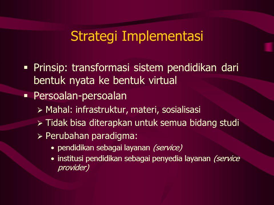 Strategi Implementasi  Prinsip: transformasi sistem pendidikan dari bentuk nyata ke bentuk virtual  Persoalan-persoalan  Mahal: infrastruktur, mate