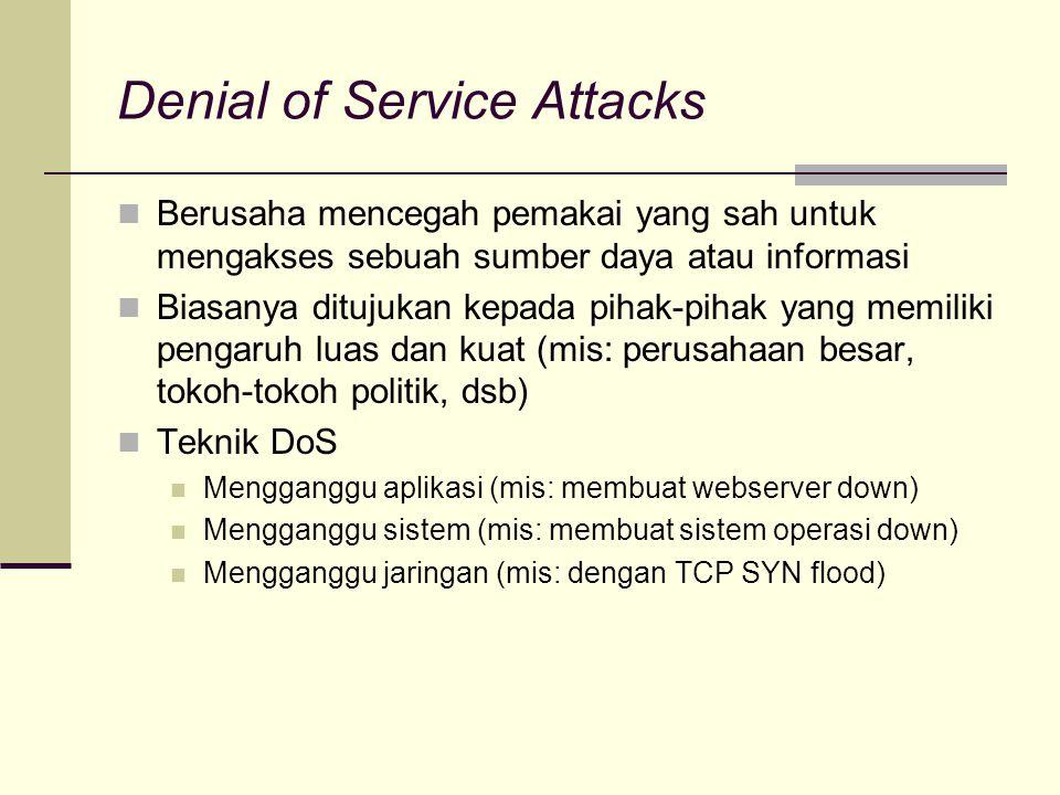 Denial of Service Attacks Berusaha mencegah pemakai yang sah untuk mengakses sebuah sumber daya atau informasi Biasanya ditujukan kepada pihak-pihak y