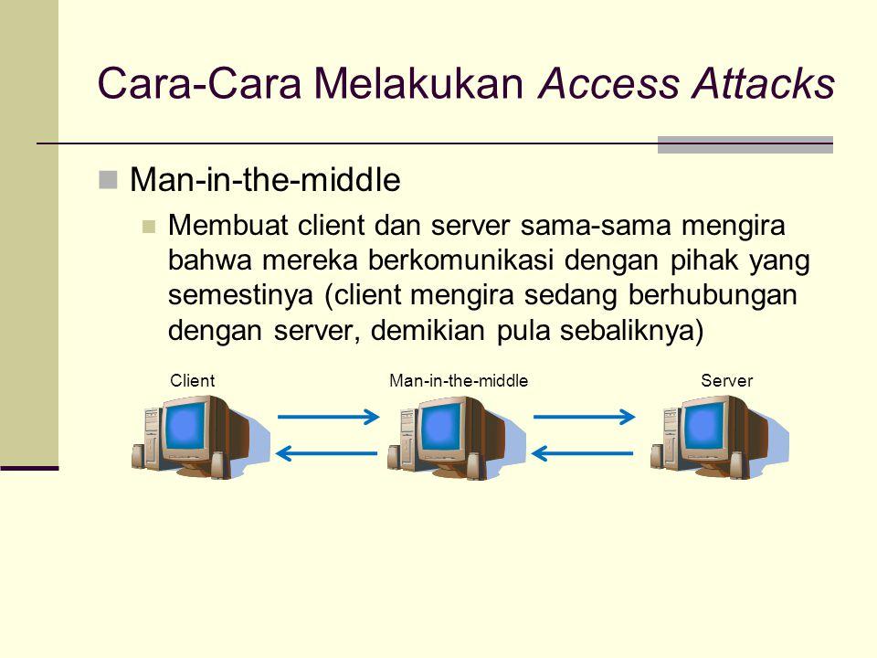 Cara-Cara Melakukan Access Attacks Man-in-the-middle Membuat client dan server sama-sama mengira bahwa mereka berkomunikasi dengan pihak yang semestin