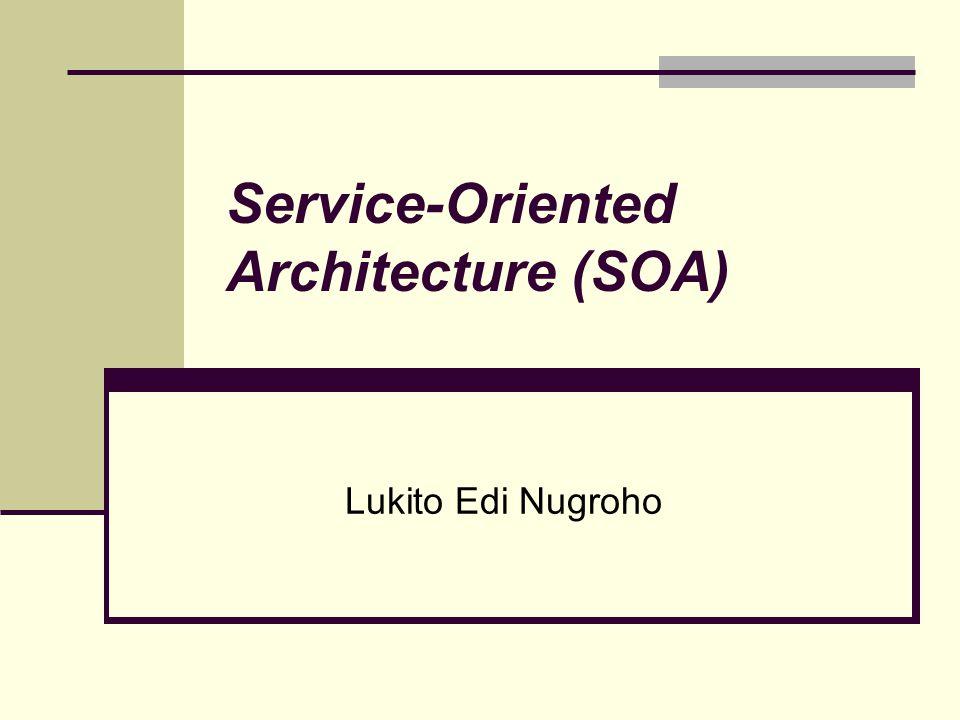 Komponen SOA Layanan Penyedia layanan Pemakai layanan Pencatat layanan Pesan/query/call