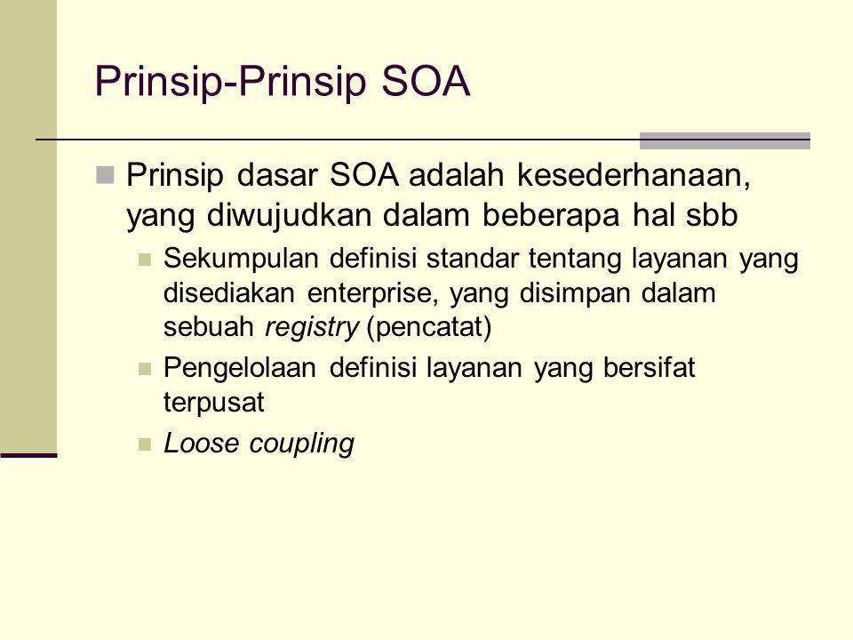 Prinsip-Prinsip SOA Prinsip dasar SOA adalah kesederhanaan, yang diwujudkan dalam beberapa hal sbb Sekumpulan definisi standar tentang layanan yang di
