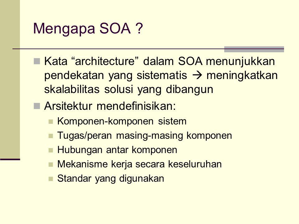 """Mengapa SOA ? Kata """"architecture"""" dalam SOA menunjukkan pendekatan yang sistematis  meningkatkan skalabilitas solusi yang dibangun Arsitektur mendefi"""