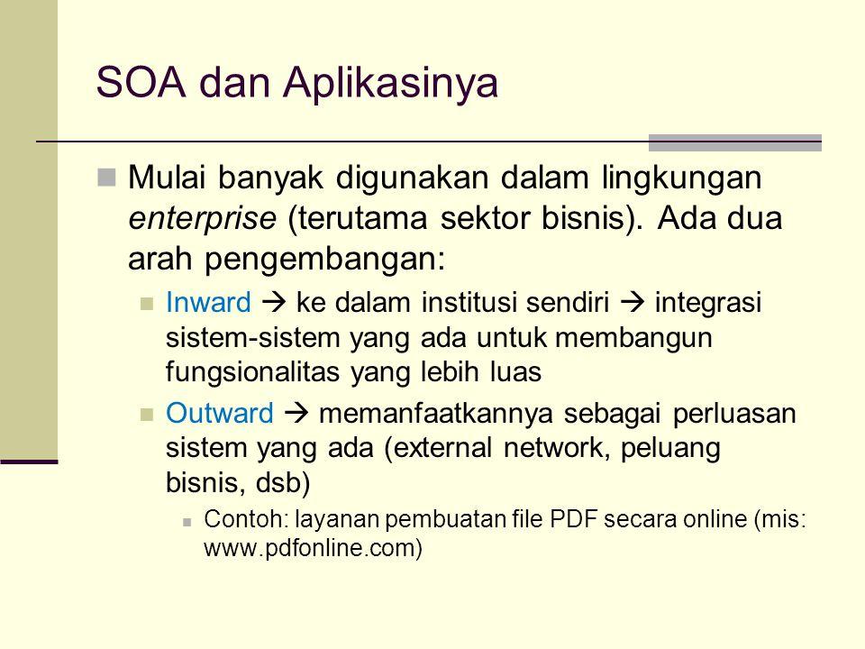 SOA dan Aplikasinya Mulai banyak digunakan dalam lingkungan enterprise (terutama sektor bisnis). Ada dua arah pengembangan: Inward  ke dalam institus